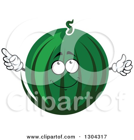 Clipart of a Watermelon Character Pointing 2 - Royalty Free Vector Illustration by Vector Tradition SM