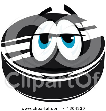 Clipart of a Hockey Puck Character with Blue Eyes 2 - Royalty Free Vector Illustration by Vector Tradition SM