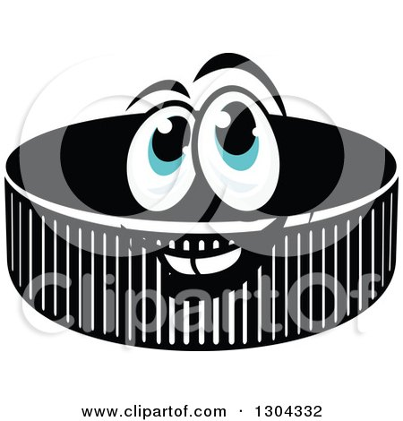 Clipart of a Hockey Puck Character with Blue Eyes - Royalty Free Vector Illustration by Vector Tradition SM