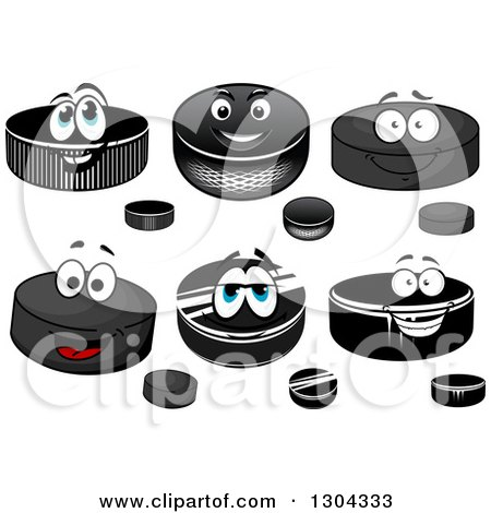 Clipart of Cartoon Hockey Pucks - Royalty Free Vector Illustration by Vector Tradition SM