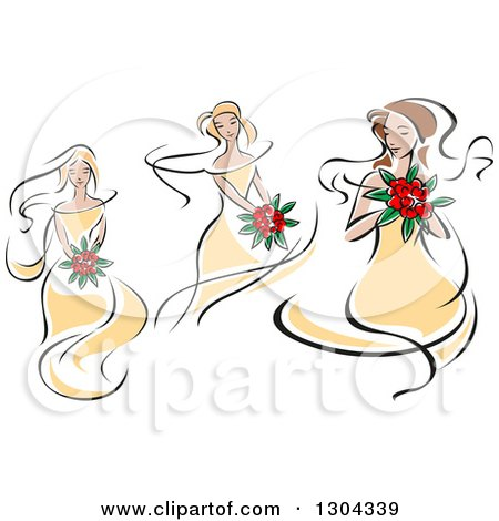 Clipart of Retro Sketched Caucasians Bride in Yellow Dresses, Holding Bouquets of Red Flowers - Royalty Free Vector Illustration by Vector Tradition SM