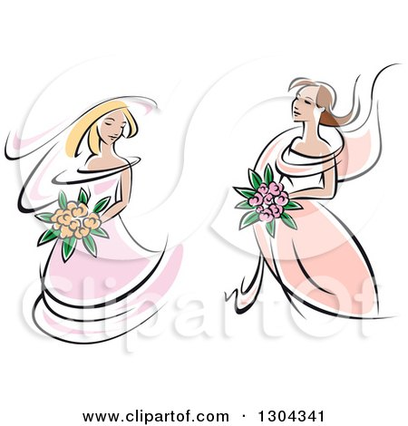 Clipart of Retro Sketched Caucasian Brides in Pink Dresses, Holding Bouquets of Flowers - Royalty Free Vector Illustration by Vector Tradition SM