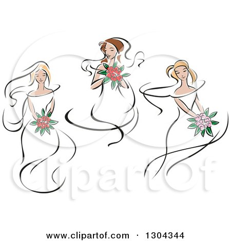 Clipart of Retro Sketched Caucasian Brides with Bouquets of Flowers - Royalty Free Vector Illustration by Vector Tradition SM