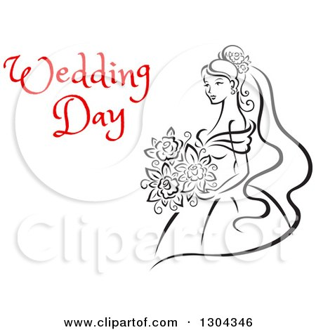 Clipart of a Sketched Black and White Bride Holding a Bouquet of Flowers with Red Text 10 - Royalty Free Vector Illustration by Vector Tradition SM