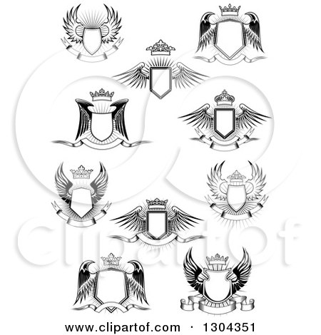 Clipart of Black and White Winged Shields, Banners and Crowns over Bursts - Royalty Free Vector Illustration by Vector Tradition SM