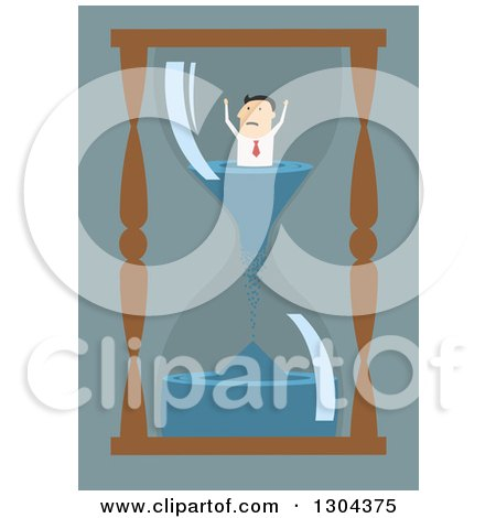 Clipart of a Flat Modern White Businessman Stuck Inside an Hourglass, over Blue - Royalty Free Vector Illustration by Vector Tradition SM