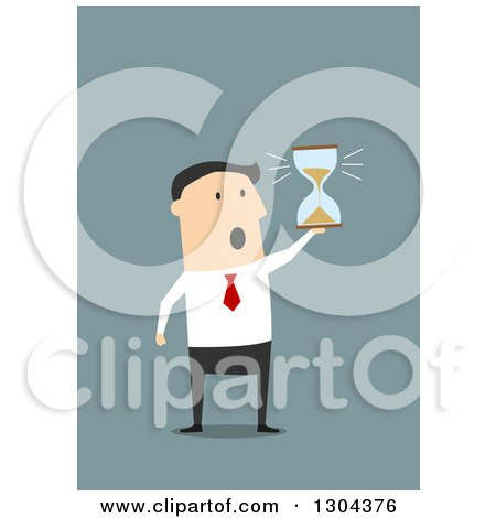 Clipart of a Flat Modern White Businessman Running out of Time and Holding an Hourglass, over Blue - Royalty Free Vector Illustration by Vector Tradition SM