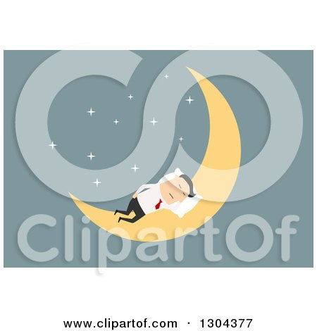 Clipart of a Flat Modern White Businessman Sleeping on a Crescent Moon, over Blue - Royalty Free Vector Illustration by Vector Tradition SM