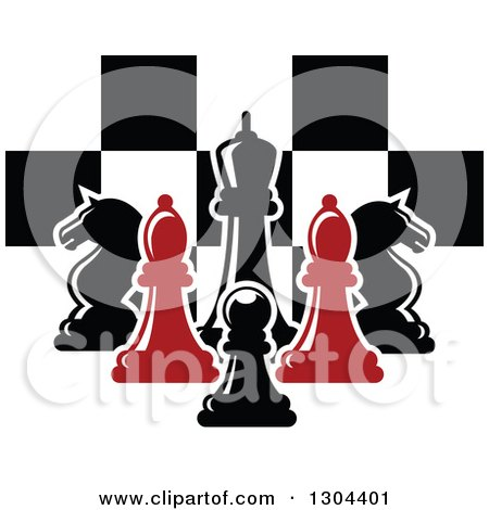 Clipart of Red and Black Chess Pieces Against a Checker Board - Royalty Free Vector Illustration by Vector Tradition SM