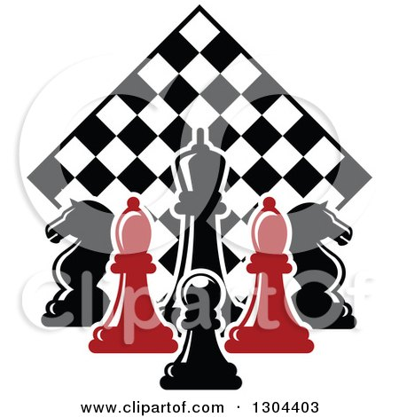 Clipart of Red and Black Chess Pieces Against a Diamond Checker Board - Royalty Free Vector Illustration by Vector Tradition SM
