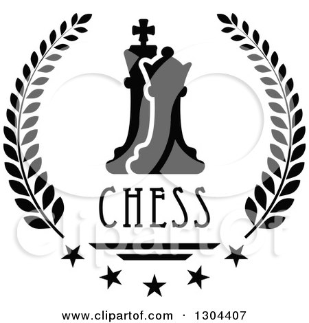 Clipart of a Black and White Chess Pawn and King in a Laurel Wreath with Stars and Text - Royalty Free Vector Illustration by Vector Tradition SM