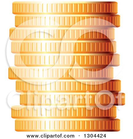 Clipart of a 3d Stack of Golden Coins 2 - Royalty Free Vector Illustration by Vector Tradition SM