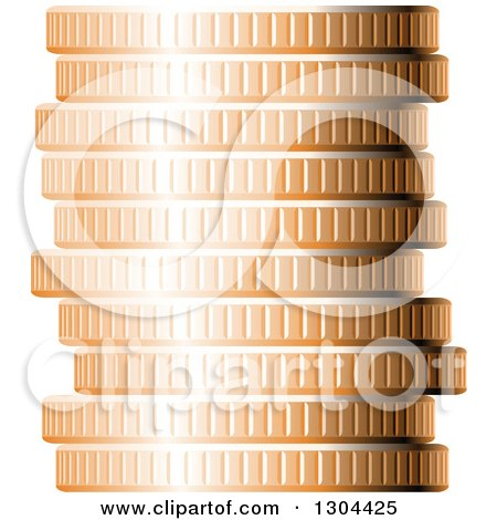 Clipart of a 3d Stack of Copper Coins 2 - Royalty Free Vector Illustration by Vector Tradition SM