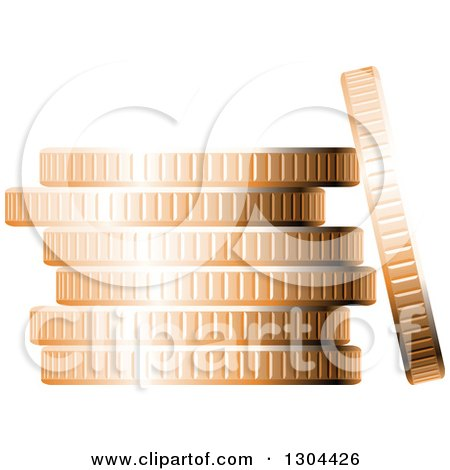 Clipart of a 3d Stack of Copper Coins 3 - Royalty Free Vector Illustration by Vector Tradition SM