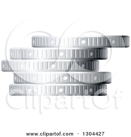Clipart of a 3d Stack of Silver Coins 3 - Royalty Free Vector Illustration by Vector Tradition SM