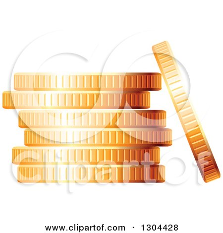 Clipart of a 3d Stack of Golden Coins 3 - Royalty Free Vector Illustration by Vector Tradition SM