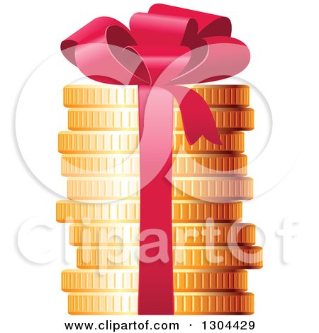 Clipart of a 3d Stack of Golden Coins with a Red Gift Bow - Royalty Free Vector Illustration by Vector Tradition SM