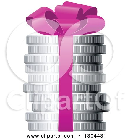 Clipart of a 3d Stack of Silver Coins with a Purple Gift Bow - Royalty Free Vector Illustration by Vector Tradition SM