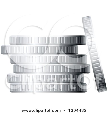 Clipart of a 3d Stack of Silver Coins 2 - Royalty Free Vector Illustration by Vector Tradition SM