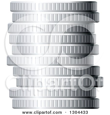 Clipart of a 3d Stack of Silver Coins - Royalty Free Vector Illustration by Vector Tradition SM
