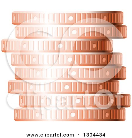 Clipart of a 3d Stack of Copper Coins - Royalty Free Vector Illustration by Vector Tradition SM