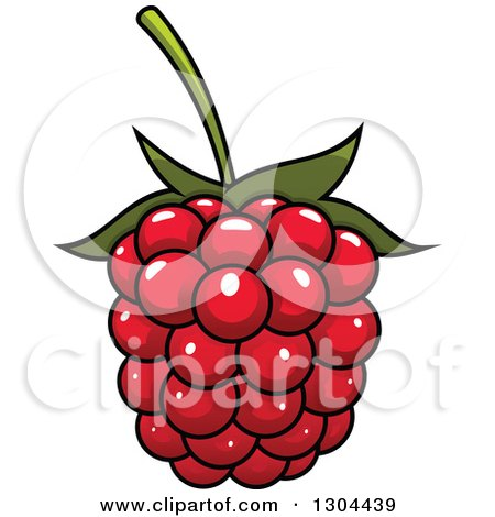 Clipart of a Cartoon Shiny Raspberry - Royalty Free Vector Illustration by Vector Tradition SM