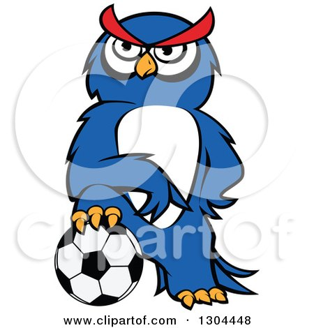 Clipart of a Cartoon Blue Sporty Owl Resting a Foot on a Soccer Ball - Royalty Free Vector Illustration by Vector Tradition SM