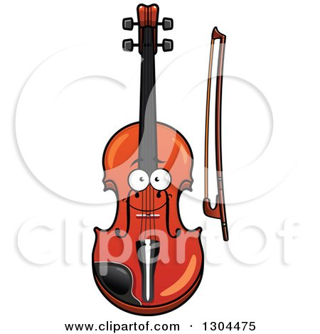 Clipart of a Cartoon Happy Violin Character and Bow - Royalty Free Vector Illustration by Vector Tradition SM