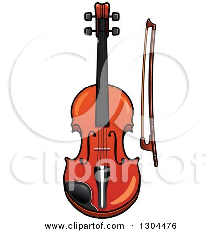 Clipart of a Cartoon Violin and Bow - Royalty Free Vector Illustration by Vector Tradition SM