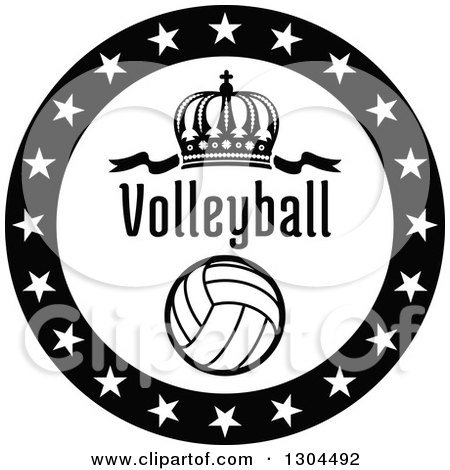 Clipart of a Black and White Circle of Stars Around a Crown, Volleyball and Text - Royalty Free Vector Illustration by Vector Tradition SM