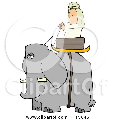 Man Riding in a Basket on an Elephant Posters, Art Prints