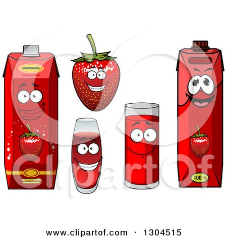 Clipart of a Smiling Strawberry Character and Juice 3 - Royalty Free Vector Illustration by Vector Tradition SM