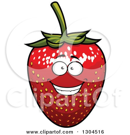 Clipart of a Smiling Strawberry Character 2 - Royalty Free Vector Illustration by Vector Tradition SM
