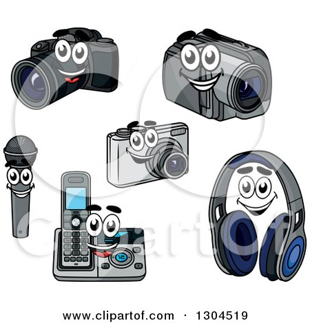Clipart of Cartoon Camera, Handycam, Microphone, Landline Phone and Headphone Characters - Royalty Free Vector Illustration by Vector Tradition SM