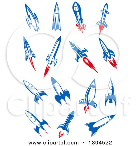 Blue and Red Rockets Posters, Art Prints