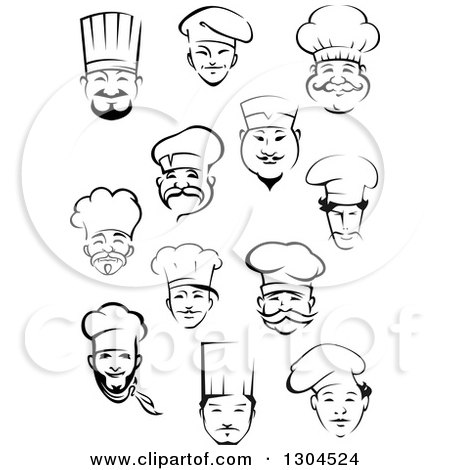 Clipart of Black and White Male Chef Faces 4 - Royalty Free Vector Illustration by Vector Tradition SM