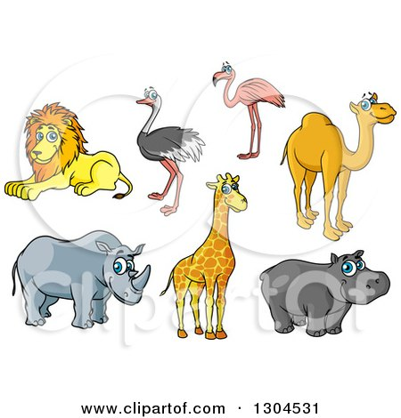 Clipart of a Cartoon Lion, Ostrich, Flamingo, Camel, Rhino, Giraffe and Hippo - Royalty Free Vector Illustration by Vector Tradition SM