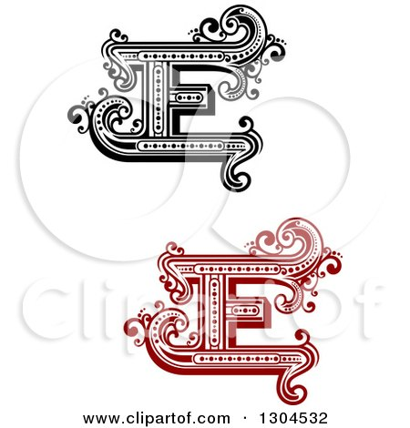 clipart of retro capital letter e designs with flourishes royalty