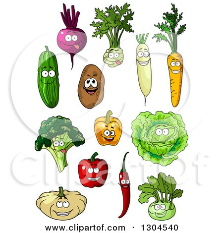 Clipart of Cartoon Beet, Kohlrabi, Radish, Carrot, Cucumber, Potato, Lettuce, Bell Pepper, Broccoli, Chili, and Pumpkin Characters - Royalty Free Vector Illustration by Vector Tradition SM