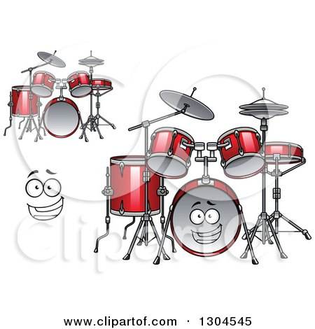 Clipart of a Cartoon Face and Red Drum Sets - Royalty Free Vector Illustration by Vector Tradition SM