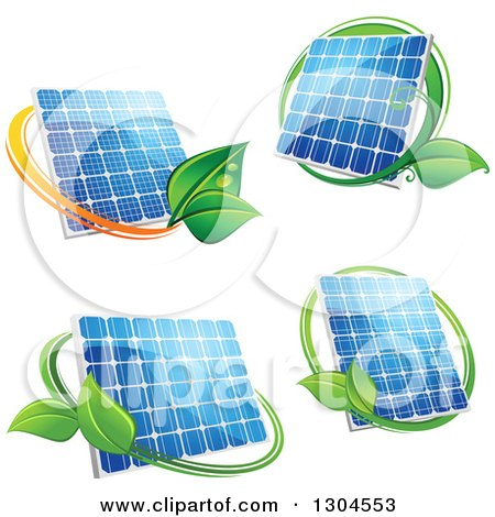 Clipart of Shiny Blue Solar Panels with Green Leaves - Royalty Free Vector Illustration by Vector Tradition SM