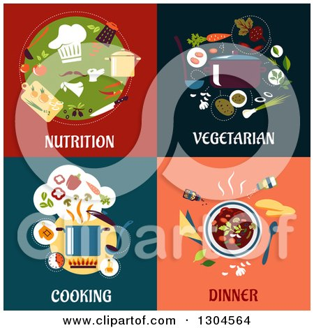 Clipart of Flat Moder Nutrition, Vegetarian, Cooking and Dinner Designs - Royalty Free Vector Illustration by Vector Tradition SM