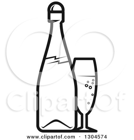 Clipart of a Black and White Champagne Bottle and Glass - Royalty Free Vector Illustration by Vector Tradition SM