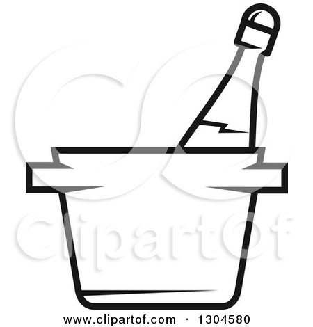 Clipart of a Black and White Champagne Bottle in an Ice Bucket - Royalty Free Vector Illustration by Vector Tradition SM