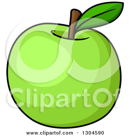 Clipart of a Shiny Green Apple - Royalty Free Vector Illustration ...