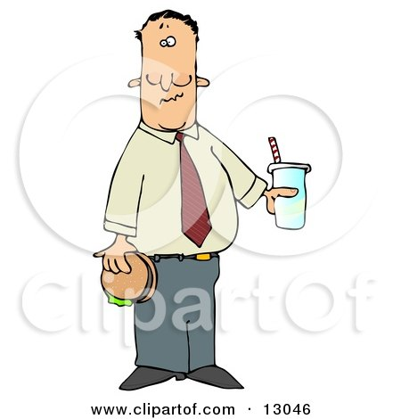 Man Eating a Hamburger and Drinking Cola Clipart Illustration by djart