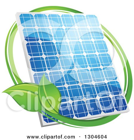 Clipart of a Shiny Blue Solar Panel with a Circle of Green Leaves - Royalty Free Vector Illustration by Vector Tradition SM