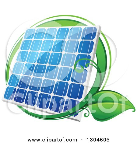 Clipart of a Shiny Blue Solar Panel with a Circle of Green Leaves 2 - Royalty Free Vector Illustration by Vector Tradition SM