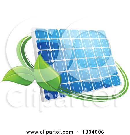 Clipart of a Shiny Blue Solar Panel with a Circle of Green Leaves 3 - Royalty Free Vector Illustration by Vector Tradition SM
