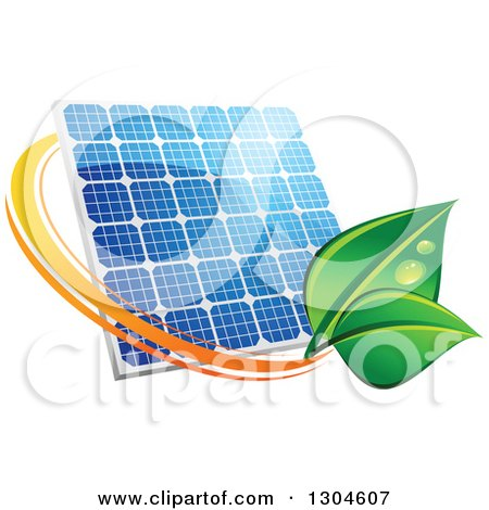 Clipart of a Shiny Blue Solar Panel with an Orange Circle and Green Leaves - Royalty Free Vector Illustration by Vector Tradition SM